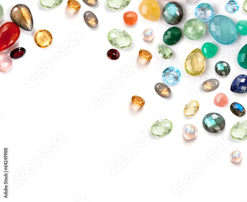 Beautiful real gemstones compostion on white background.