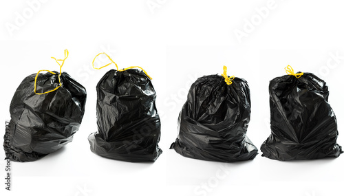 Photographie  Quatto borse di rifiuti in fila