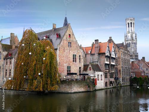 Poster Brugge Belfry and historic medieval buildings in Bruges, Belgium