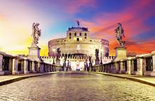 Castel Sant Angelo From  Bridge, Rome.