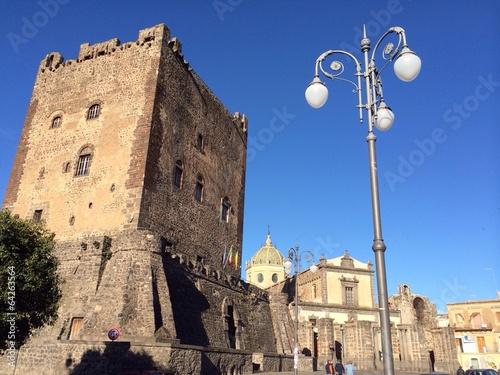 Fotografering Symbol of Adrano,Norman castle, Sicily
