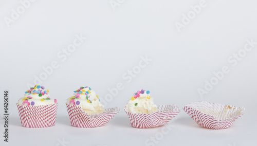 Photo  Cupcake eaten in stages