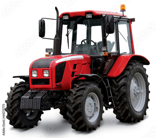 Red tractor isolated on white background Wall mural