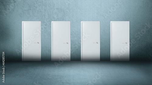 Photo  Four doors gray background