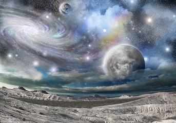 Fototapeta Niebo mountains ridges and galaxies
