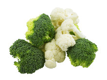 Cauliflower And Broccoli Pieces On White Background