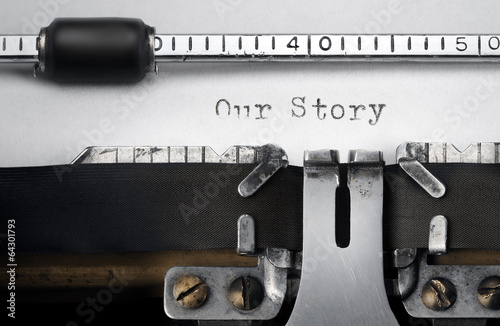 """Fotografie, Obraz  """"Our Story"""" written on an old typewriter"""