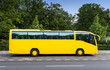 Gelber Reisebus vor Wald