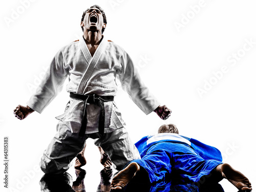 Garden Poster Martial arts judokas fighters fighting men silhouettes