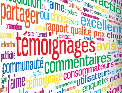 Photo Nuage de Tags TEMOIGNAGES (indice enquête satisfaction avis)