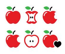 Red Apple, Apple Core, Bitten,...