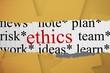 Ethics against digitally generated orange paper strewn