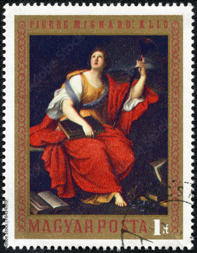stamp printed by Hungary, shows Clio, by Pierre Mignard Canvas Print