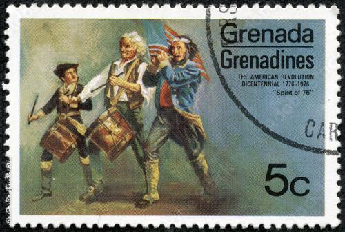 Fotografía stamp printed in Grenada shows a painting of grenadines