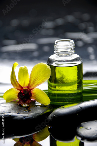 Poster Spa Still life with orchid with green leaf and black stones
