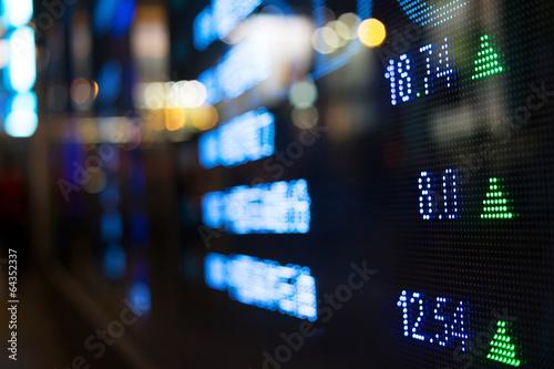 Fotografía  Display of Stock market quotes