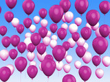 Floating Purple And White Balloons Show Girly Birthday Party
