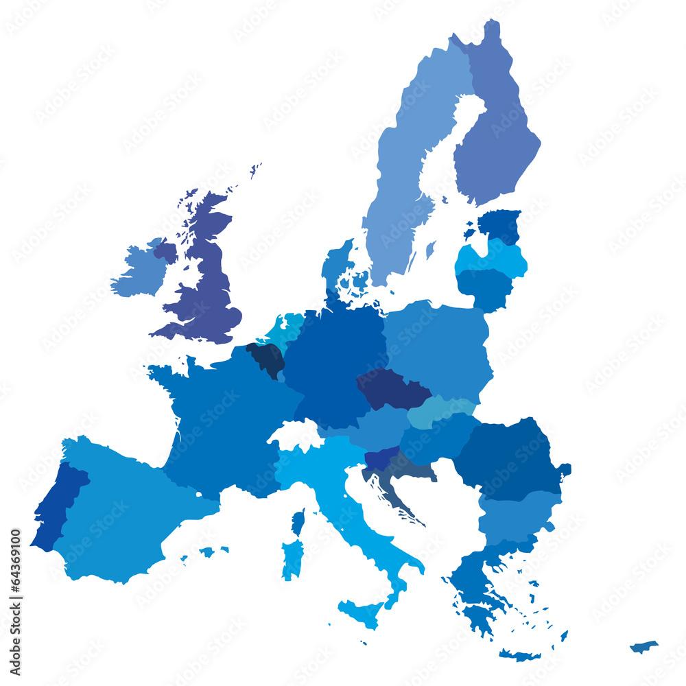 Fototapeta vector mape of european union borders