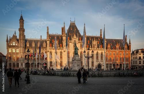 Deurstickers Brugge Market square Bruges
