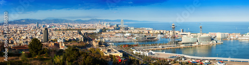 Foto op Canvas Barcelona Panoramic view of Barcelona with Port