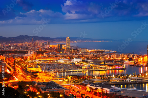 Port Vell and cityspace in Barcelona during evening Canvas Print