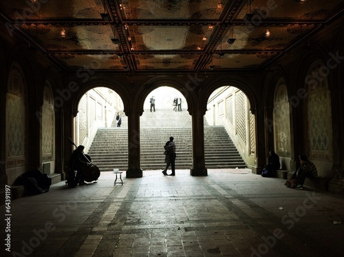 Photo  Fiancee on the steps of Bethesda Terrace
