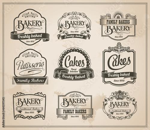 Vintage Retro Bakery Labels and Sign Set - Vector Design