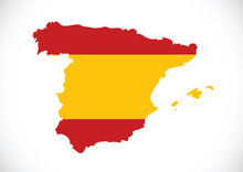Spain Flag And Map Country Shape Idea Design