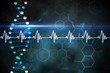 Blue DNA strand with ECG line
