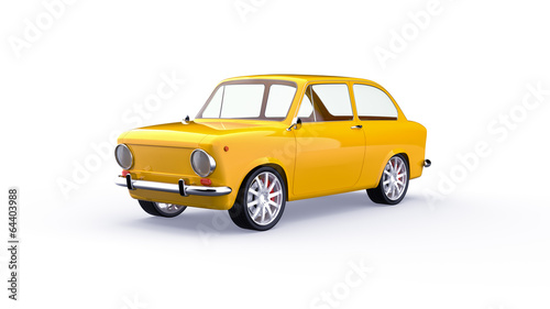 Staande foto Cartoon cars Yellow car