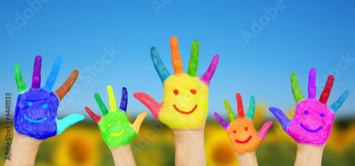 Fotografia, Obraz  Smiling hands on summer background