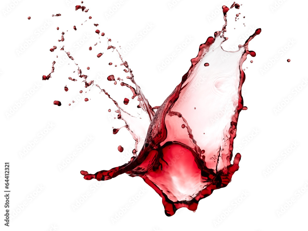 Fototapeta Red wine splash with drops