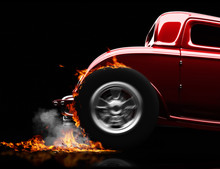 Hot Rod Burnout On A Black Bac...
