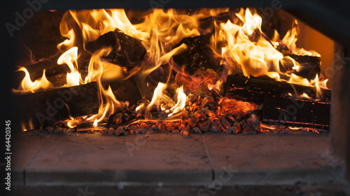 fototapeta na szkło fire in a wood burning oven