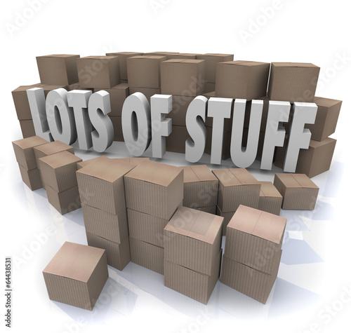 Fotografie, Obraz  Lots of Stuff Cardboard Boxes Messy Disorganized Storage Stockpi