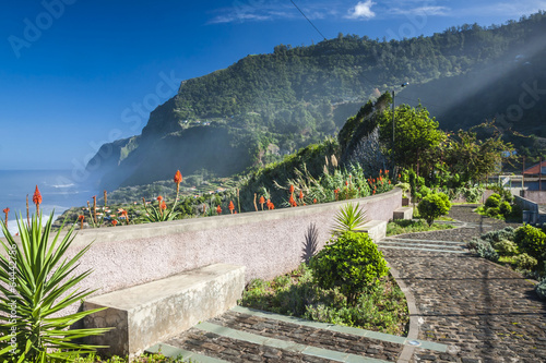 Foto op Canvas Restaurant Empty typical road in Madeira island, Portugal