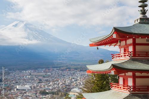 Papiers peints Japon Shureito pagoda with Mountain Fuji