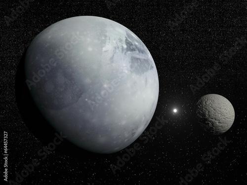 Cuadros en Lienzo Pluton, Charon and Polaris star - 3D render