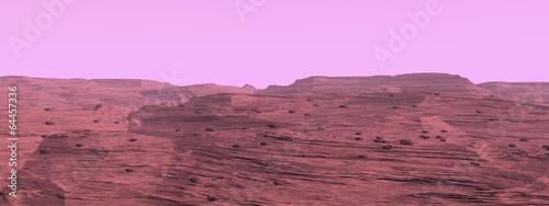Fotobehang Purper Mars surface landscape - 3D render