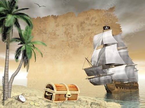 Fotografie, Obraz  Pirate ship finding treasure - 3D render