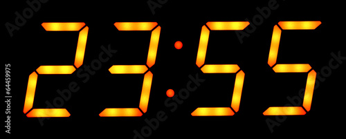 Fotografia  Digital clock show five minutes to twelve