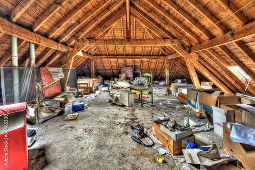 Obraz Messy attic roof space at abandoned house - fototapety do salonu