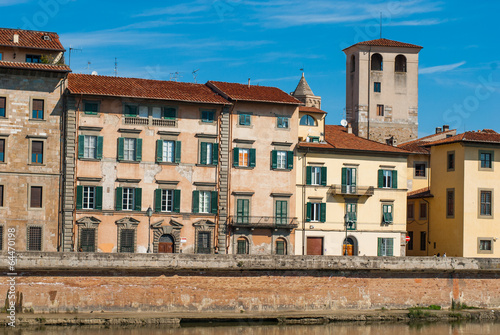 Deurstickers Brugge Veduta dei Lungarni di Pisa, palazzi centrostorico