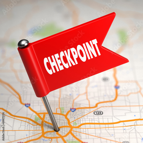 Checkpoint - Small Flag on a Map Background. Wallpaper Mural
