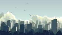 Illustration Of Big City In Bl...