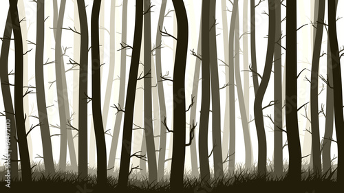 Horizontal illustration with many pine trees.