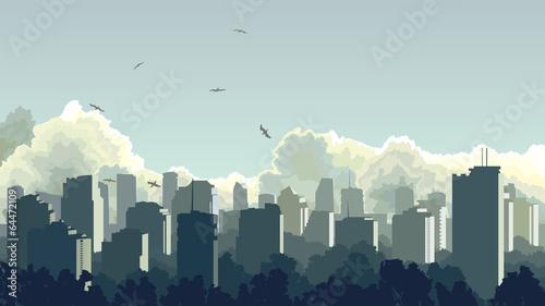 Illustration of big city in blue tone.