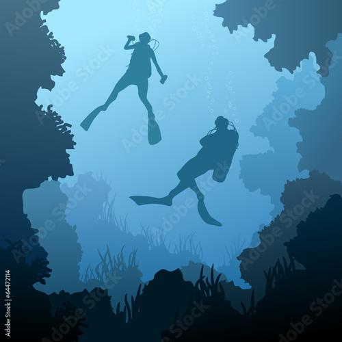 fototapeta na drzwi i meble Plac ilustracji nurków pod wodą.