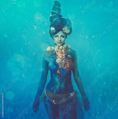 Wall Murals UFO Fantasy underwater woman creature with body art