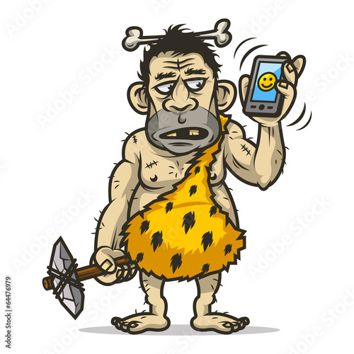 Neanderthal man holds mobile phone Poster